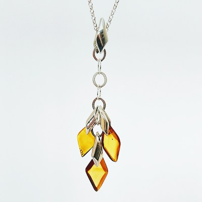 Autumn inspired Amber Art Leaf Pendant