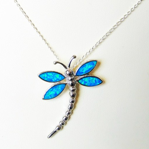 Sterling Silver & Opal Dragonfly Necklace