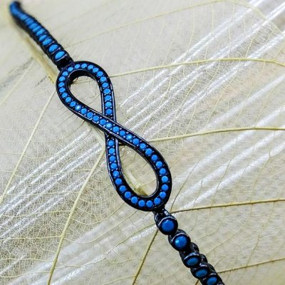 Infinity Bracelet with Nano Turquoise