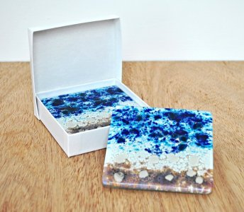 Fused glass coasters set of two
