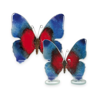 Handmade Fused Glass Butterfly Blue/Red