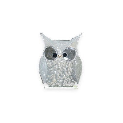 Handmade Fused Glass Owl White