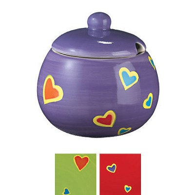 Hand painted hearts design sugar bowl