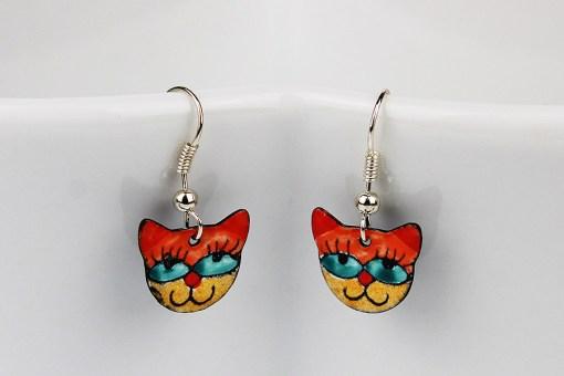 Handmade enamel cat earrings