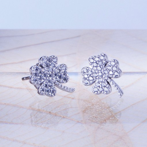 Silver & Cubic Zirconia Four Leaf Earrings