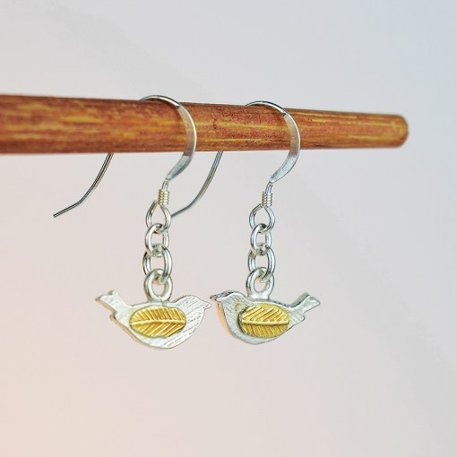 Silver & Gold Plated Bird Earrings