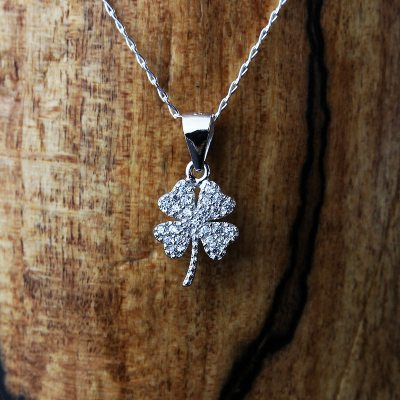 Silver & Cubic Zirconia Four Leaf Necklace