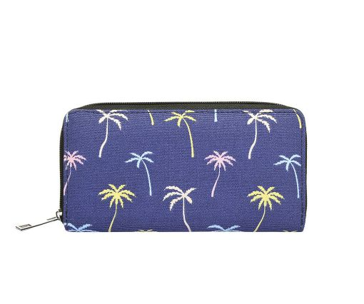 Coconut tree print canvas purse