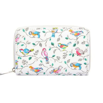 Cream bird print small purse