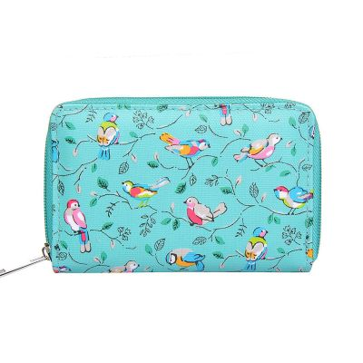 Green bird print small purse