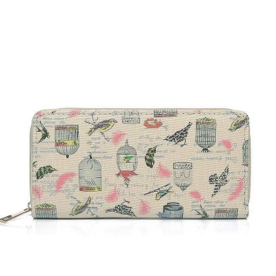 Bird and cage print canvas purse