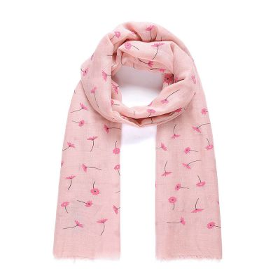 Pink daisy flocked long scarf