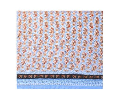 Blue elephant print long scarf