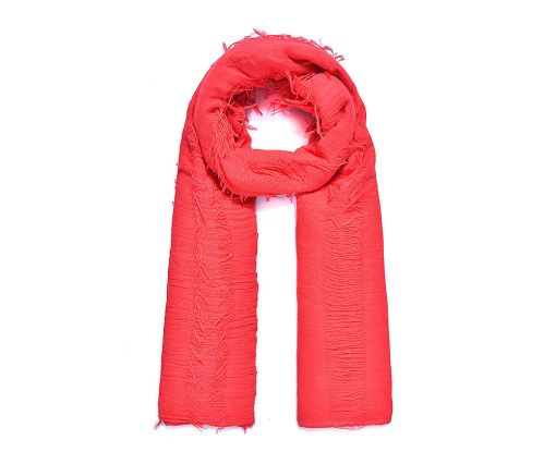 Large red fringed long scarf