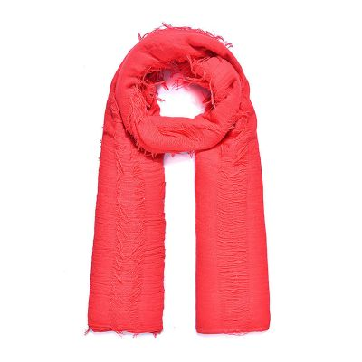 Large red fringed long scarf