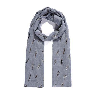 Steel blue fern metallic print long scarf