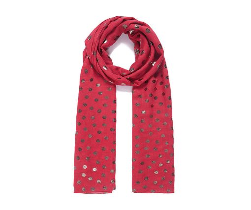 Red clove metallic foil print scarf