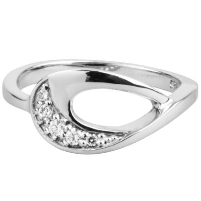 Sterling Silver Cubic Zirconia Teardrop Ring