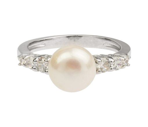 Sterling Silver White Fresh Water Pearl And Cubic Zirconia Ring