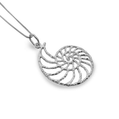 Handmade Sterling Silver Ammonite Shell necklace