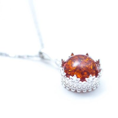 Handmade Baltic Beauty Small Amber Princess Crown Necklace