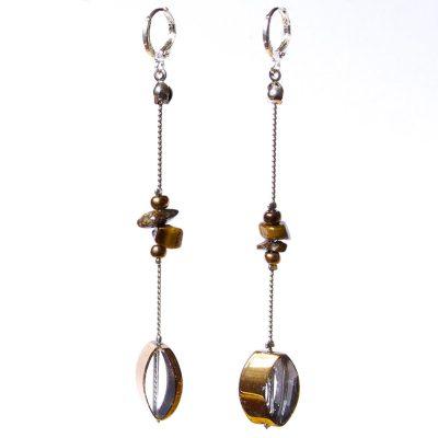 Sterling Silver 925 Long Dangle Earrings with Gemstones