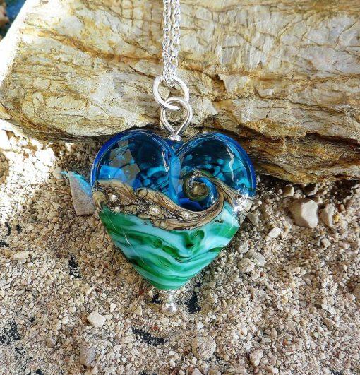 Deep Blue Sea Heart Pendant