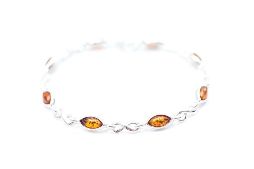Baltic Amber & Sterling Silver Infinity Bracelet