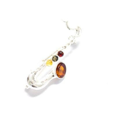 Baltic Amber & Sterling Silver Saxophone Brooch