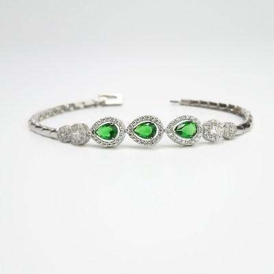 Sterling Silver Pear-Shaped Green Cubic Zirconia Bracelet