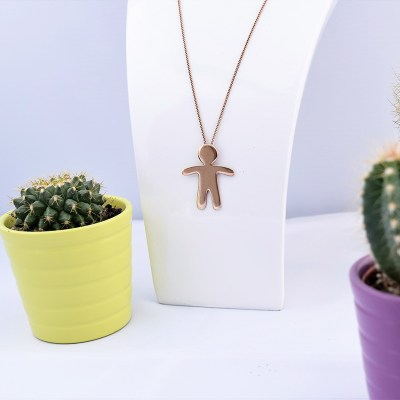 Handmade Sterling Silver Gingerbread Man Necklace