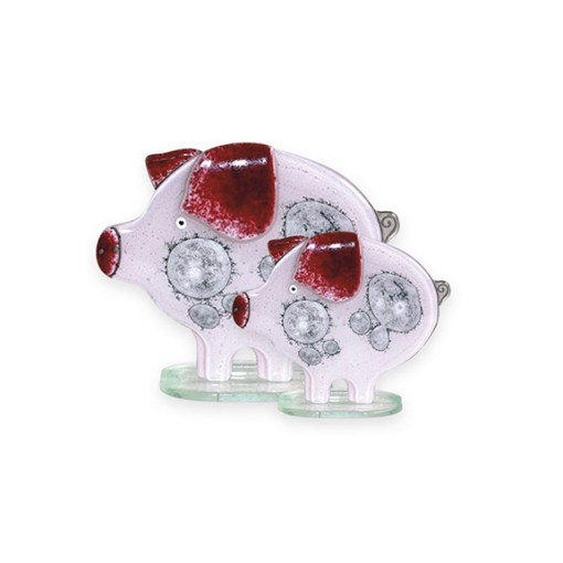 Handmade Fused Glass Piglet Pink
