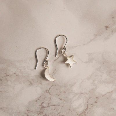 Satin Star and Moon Earrings