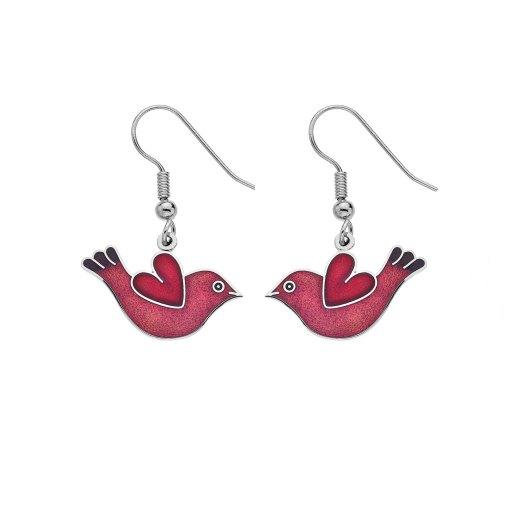 Red Bird and Heart Enamel Earrings