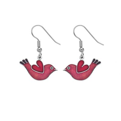 Red Bird and Heart Enamel Earrings