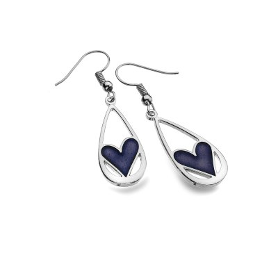 Teardrop Earrings with Purple Heart Detail