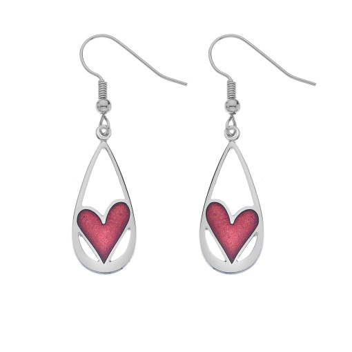 Teardrop Earrings with Red Heart Detail