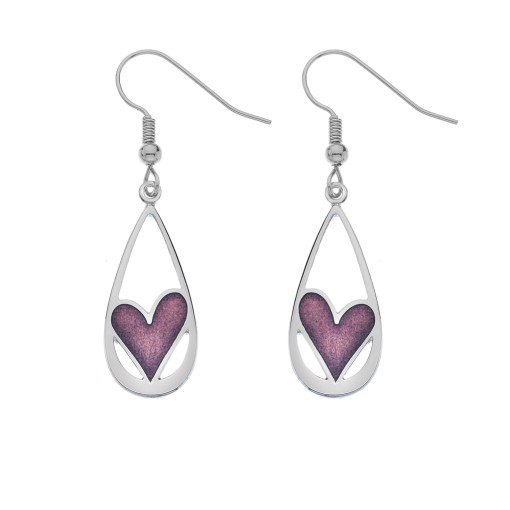 Teardrop Earrings with Mauve Heart Detail