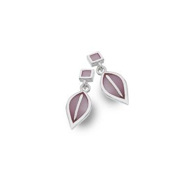 Handmade Sterling Silver Mother of Pearl Rose Leaf Stud Earrings