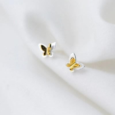 Sterling silver & Gold plated Butterfly Earrings