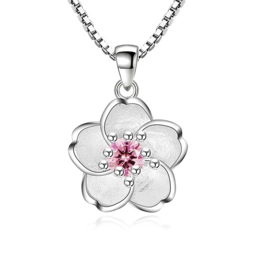 Sterling Silver & Cubic Zirconia Cherry Blossom flower Necklace