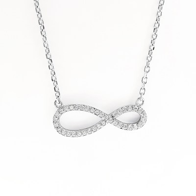 Sterling Silver & Cubic Zirconia Infinity Necklace