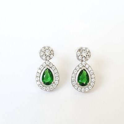 Green Cubic Zirconia Earrings