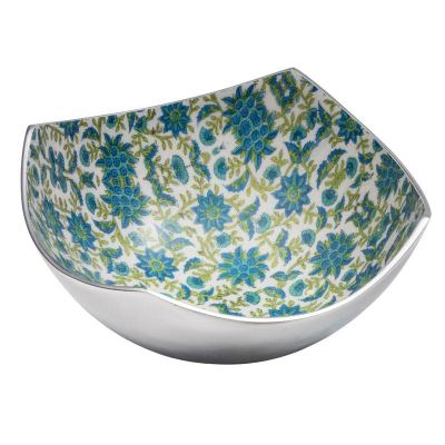 Large Floral Print Aluminium 4 Point Bowl