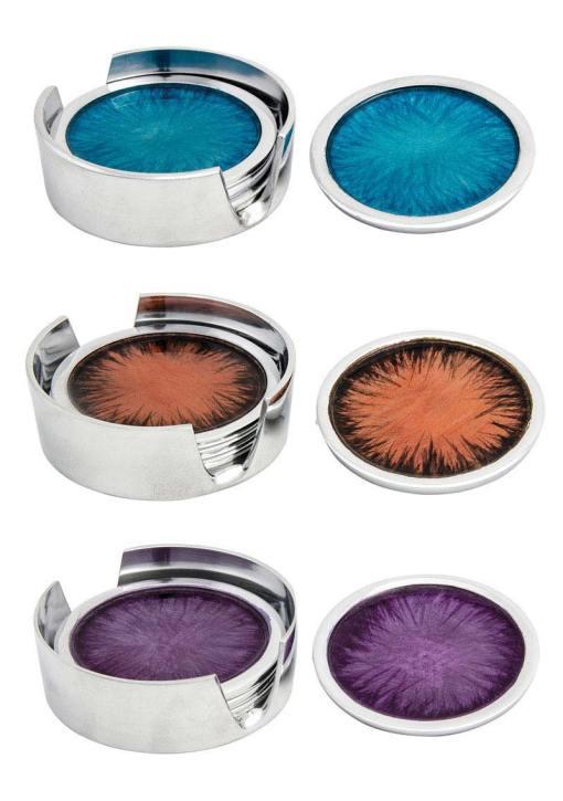 Set of 4 Brushed Aluminium Coasters