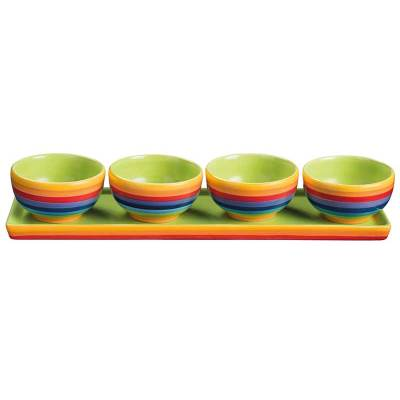 Hand Painted Rainbow Stripe Set of 4 Bowls