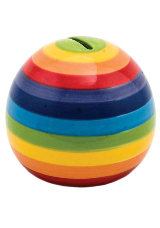 Hand Painted Rainbow Stripe Round Money Box