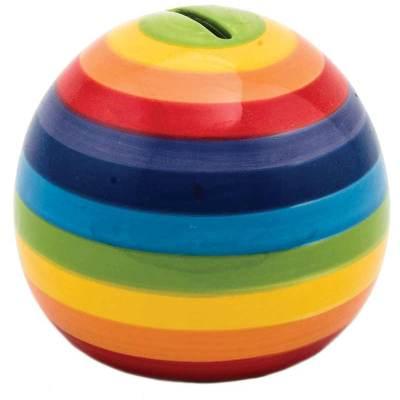 Hand Painted Rainbow Stripe Round Money Box