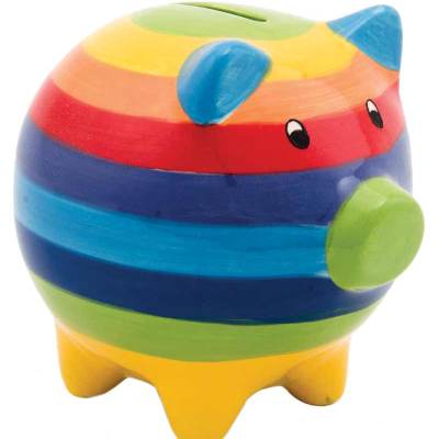 Hand Painted Rainbow Stripe Ceramic Piggy Bank