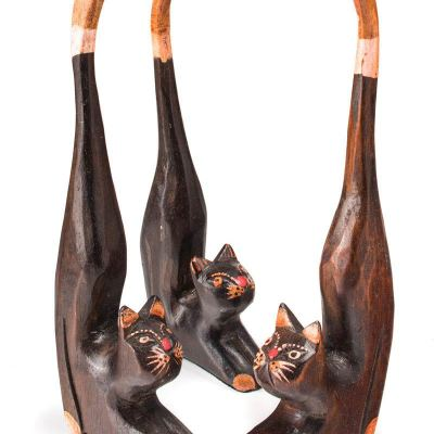 Hand carved & painted wooden long tail cat